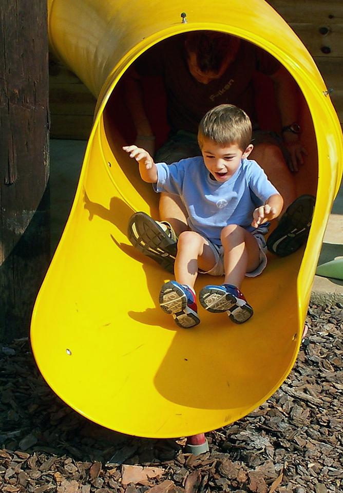 Blue Bird Day and boy on playground slide