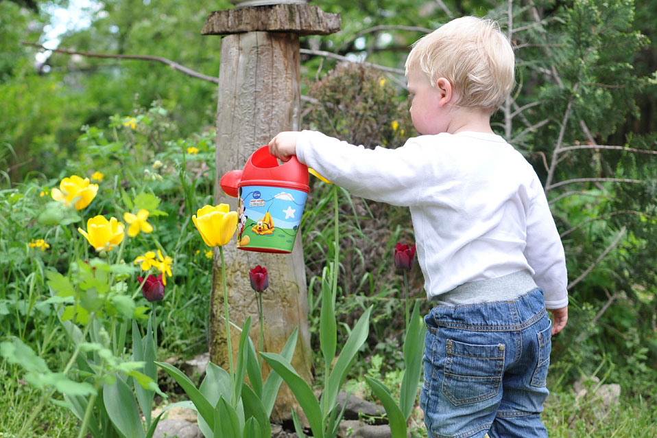 Blue Bird Day and child watering flowers