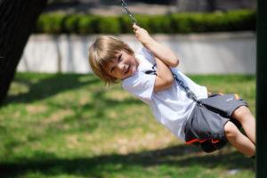 Blue Bird Day and kid swinging
