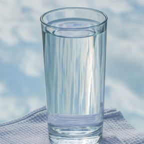 Blue Bird Day and water glass