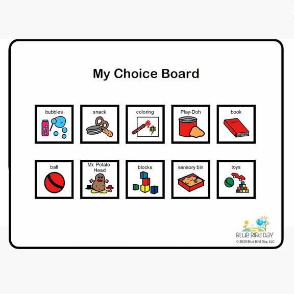 Blue Bird Day and my choice board